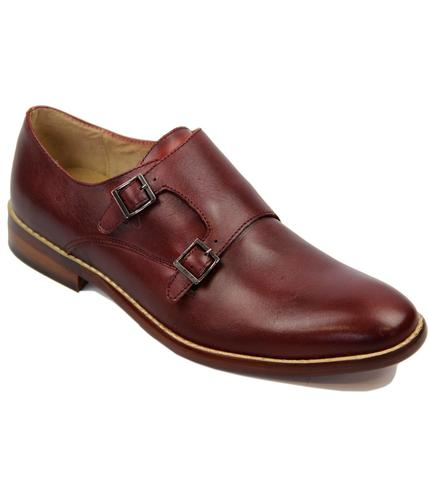 PAOLO VANDINI RETRO MOD MONK STRAP SHOES RED