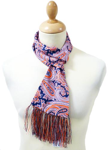 peckham rye octopus paisley navy retro mod silk scarf