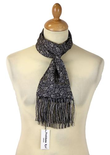 PECKHAM RYE Mod Paisley Scarf Black Ground/White