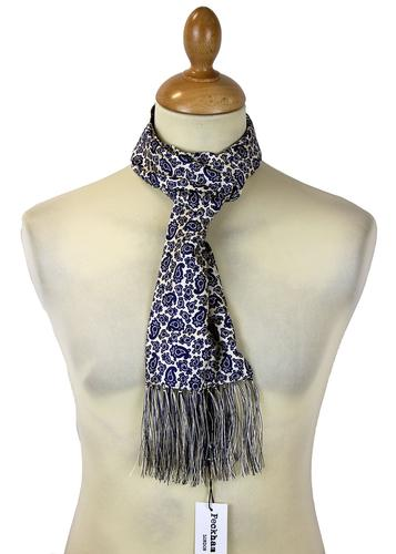 PECKHAM RYE Mod Paisley Scarf White Ground/Navy