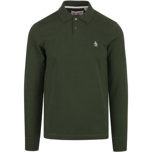 Original Penguin Men/'s Casual Long Sleeve Cotton Polo Shirt Raised Rib Piqué Top