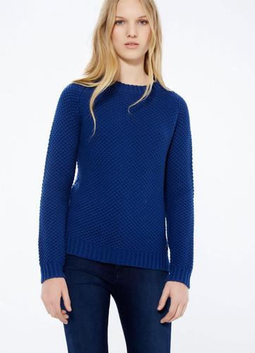 PEPE JEANS WOMENS RETRO KNIT CAMELIA JUMPER BLUE