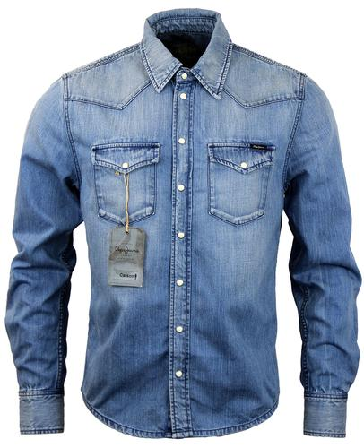 PEPE JEANS MENS RETRO MOD 70S DENIM SHIRT