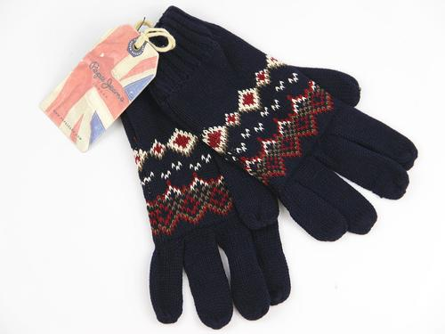 PEPE JEANS RETRO 70S FAIR ISLE KNIT GLOVES