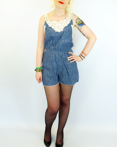 Rochester PEPE Retro 60s Floral Crochet Playsuit