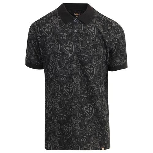 PRETTY GREEN Mod Signature Paisley Polo Top BLACK