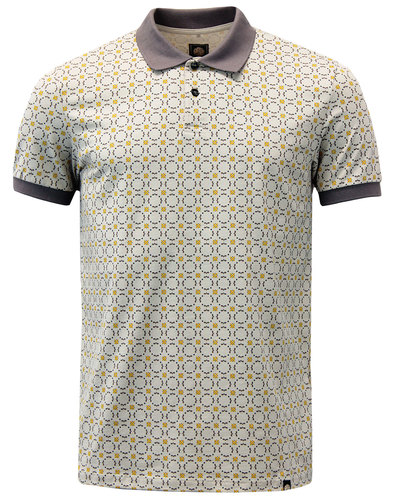 Carville PRETTY GREEN Mod Geometric Floral Polo
