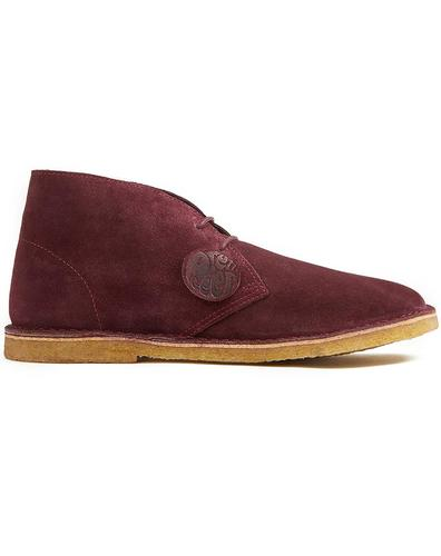 PRETTY GREEN Retro Mod Suede Desert Boots Burgundy
