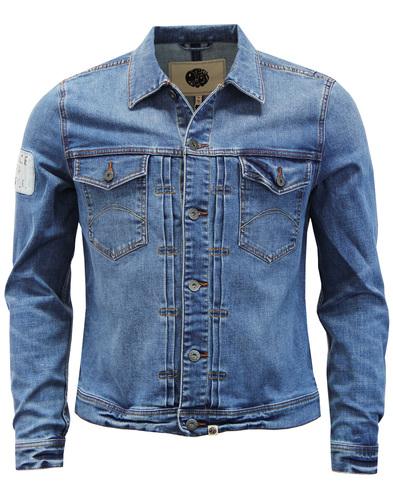 a2335f7951 PRETTY GREEN Lambert Retro Mod Peace for People Denim Jacket Blue