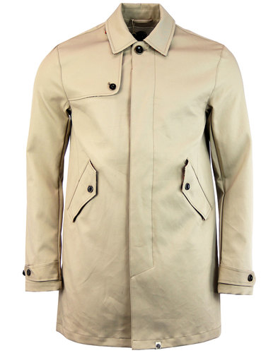 how to buy reliable quality outlet for sale PRETTY GREEN Layton men's Retro 60s Mod Trench Coat in Stone
