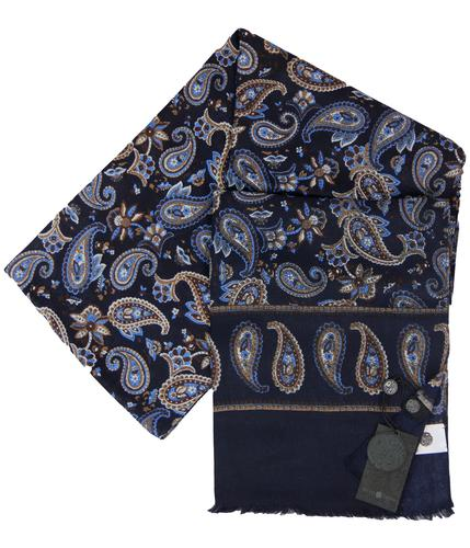 PRETTY GREEN 60s Mod Paisley Pin Fringe Scarf (N)