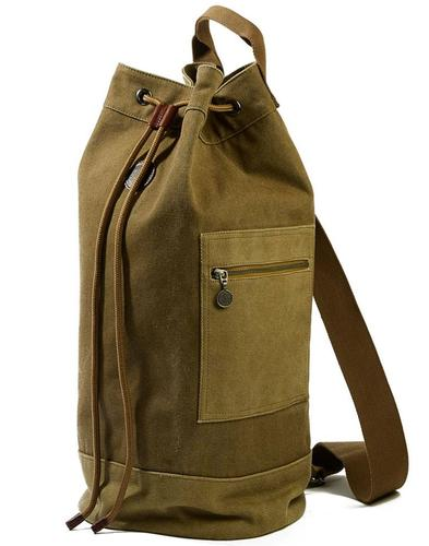 PRETTY GREEN Retro 70s Military Canvas Duffle Bag