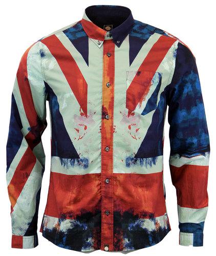 ad94a5dbc08 PRETTY GREEN Retro 1960s Mod Union Jack Print Button Down Shirt