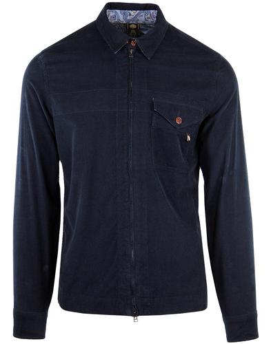 PRETTY GREEN Retro 60's Zip Through Cord Shirt N