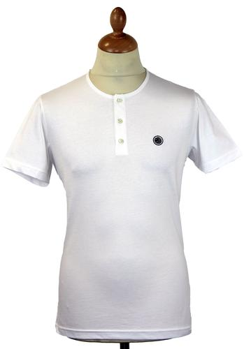 PRETTY GREEN Retro Mod S/S Grandad T-Shirt (White)