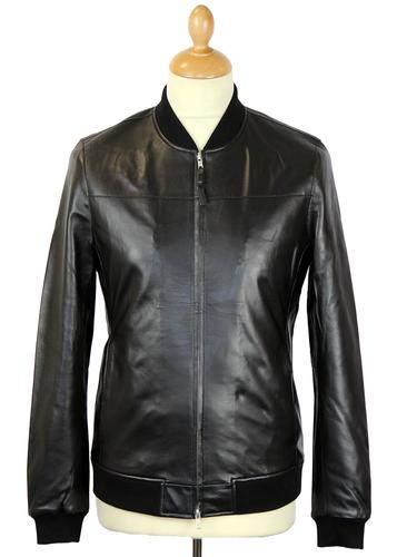 PRETTY GREEN Gaston Retro Indie Leather Bomber Jacket in Black