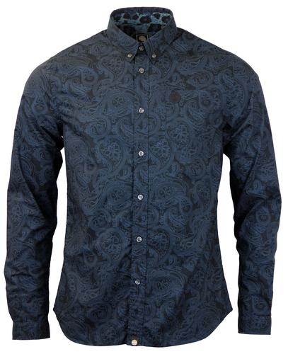 PRETTY GREEN RETRO MOD LINEAR PAISLEY SHIRT NAVY