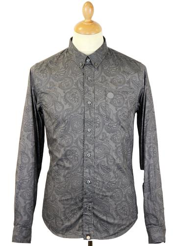 PRETTY GREEN L/S Linear Paisley Retro Mod Shirt G