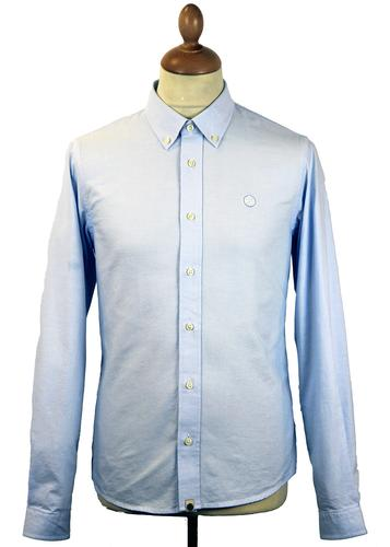 PRETTY GREEN OLDBURY RETRO MOD OXFORD SHIRT BLUE