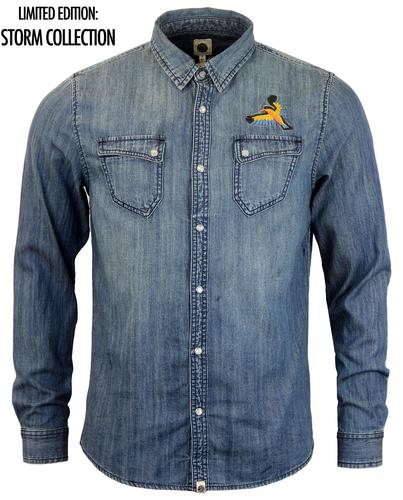 PRETTY GREEN STORM THORGERSON DENIM SHIRT