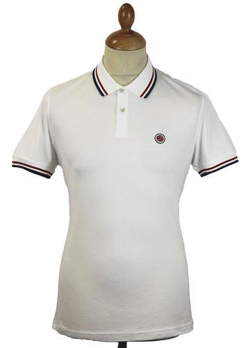 PRETTY GREEN RETRO MOD TIPPED S/S POLO WHITE