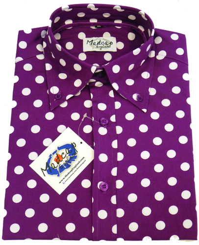 MADCAP ENGLAND RETRO MOD PURPLE PENNY DOT SHIRT