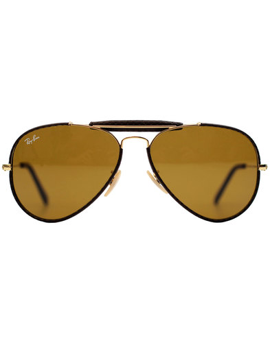Outdoorsman Craft RAY-BAN Leather Sunglasses Brown