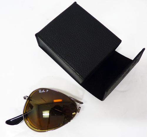 ray ban pilot polarized  Ray-Ban 75th Anniversary Polarized Folding Aviator Sunglasses