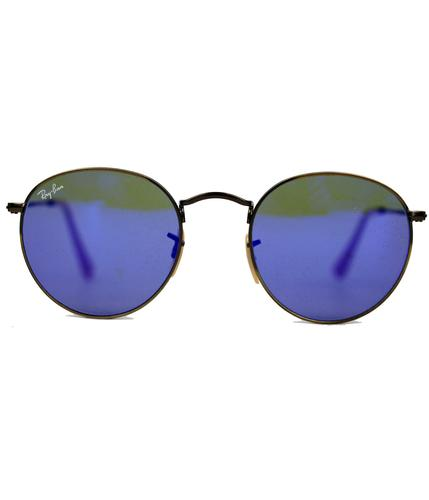 Ray-Ban RB3447 Blue Mirror Lens Round Sunglasses