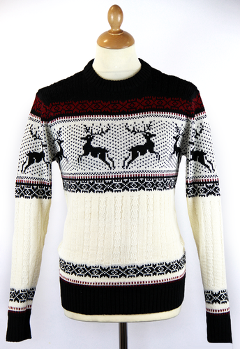 RETRO CHRISTMAS JUMPER RETRO 70S REINDEER JUMPER