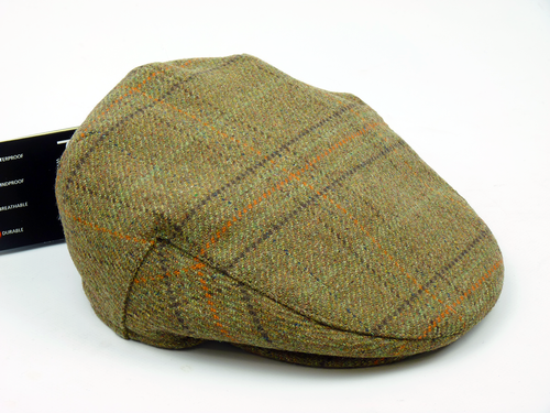Retro 60s Mod Tweed Check Waterproof Flat Cap (GO)