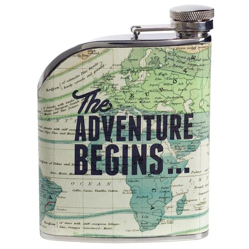 RETRO HIP FLASK CARTOGRAPHY ADVENTURE BEGINS