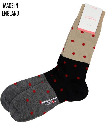 + Puno RICHARD JAMES Retro Polka Dot Panel Socks