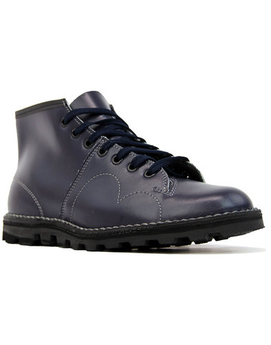 Retro Mod Smooth Leather Monkey Boots (Navy)