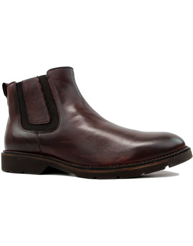Rider Retro Mod Leather Chelsea Boots OXBLOOD