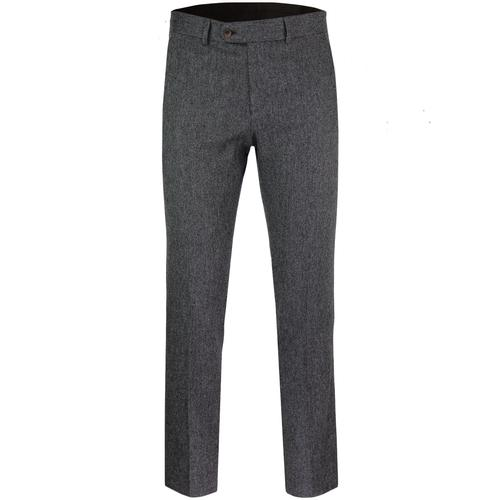 Mod Tailored Slim Donegal Suit Trousers (Charcoal)