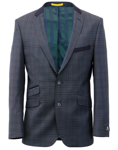 Retro Mod Wool Blend Check 2 Button Suit Jacket