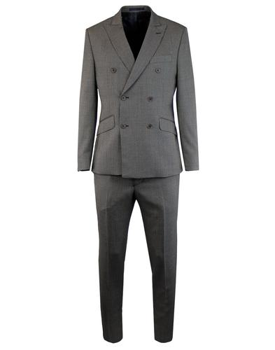 Men's Retro 1960s Mod Birdseye Check Suit in Black