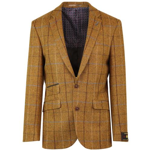 Mod Four Colour Gold Check Tailored Blazer Jacket