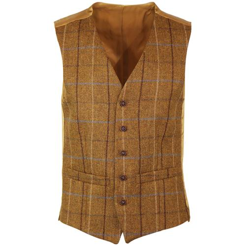 60s Mod Tailored Four Colour Check Waistcoat GOLD