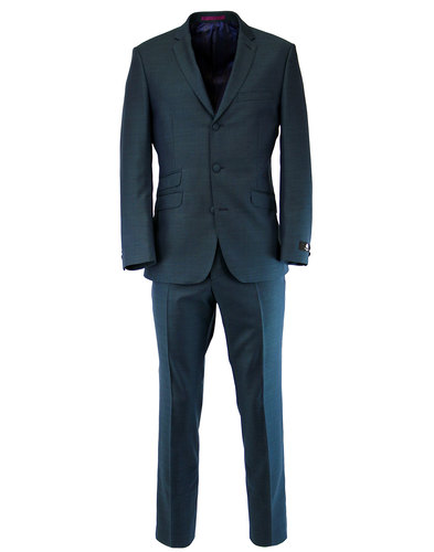 Mens Retro Sixties 3 Button Tonic Mod Suit in Teal
