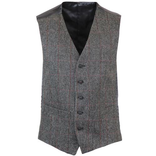 Retro Mod Windowpane Check V-Neck Waistcoat (Grey)