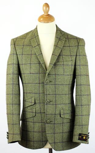 Retro Sixties Mod Window Pane Check 3 Button Tweed Blazer