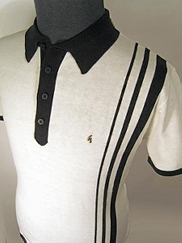 'Gabicci Vintage Knitted Racing Stripe Polo' (W)