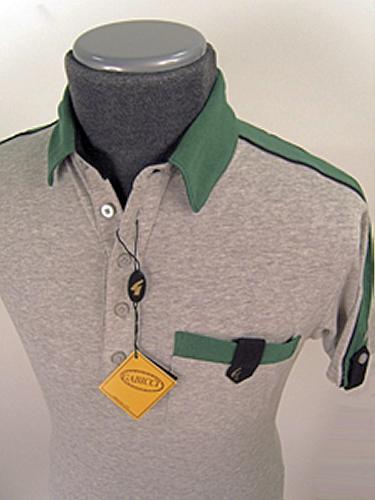 'Gabicci Vintage' Seventies Polo (Silver/Green)