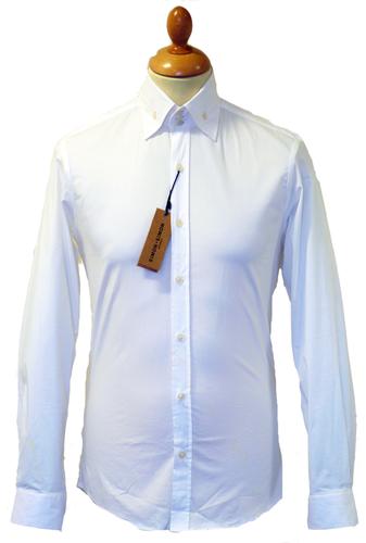 Simon   Simon Retro 60s Mod High Collar Button Down Shirt White