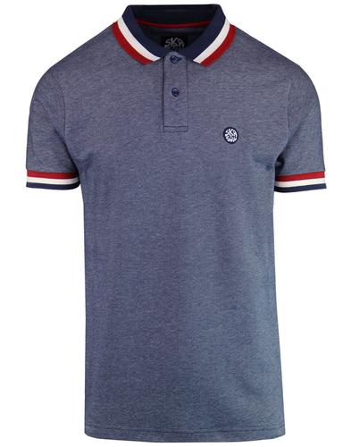 SKA & SOUL Retro Mod Auto Stripe Polo Shirt (Navy)