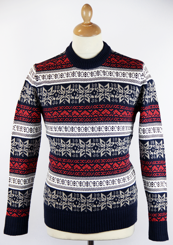 RETRO CHRISTMAS JUMPER RETRO 70S SNOWFLAKE NAVY