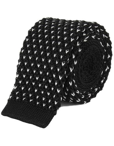 TOOTAL Retro Mod Knitted Dot Silk Tie in Black