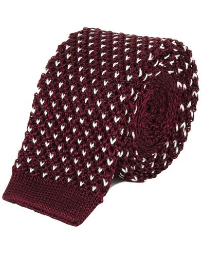 TOOTAL Retro Mod Knitted Dot Silk Tie in Burgundy